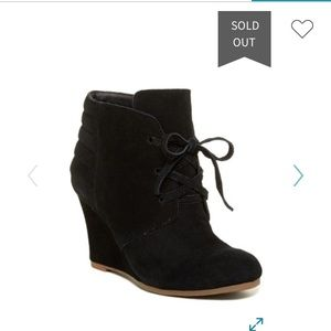 Dolce Vita black suede Page lace up wedge bootie